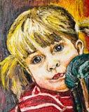 Målning för flickaståendeolja Royaltyfri Fotografi