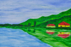 Original oil on canvas of lake and home. Original oil on canvas of lake and two home,bule sky Stock Images