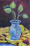 Original oil on canvas still life lotus on vast. For work painting Stock Photos
