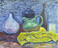 Original oil on canvas still life of pottery Stock Photography