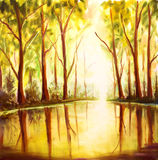 Original Oil hand Painting Reflection of trees in water on canvas - colorful forest painting - Modern impressionism art. Royalty Free Stock Images