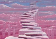 Stairs into Sky. Original oil illustration of piano keys in a form of stairs Royalty Free Stock Images