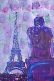 Original oil painting. On canvas for giclee, background or concept. Paris eiffel tower Royalty Free Stock Photography