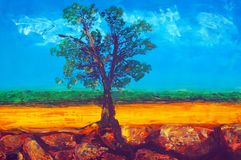 Original oil painting. On canvas for giclee, background or concept. australian gum tree landscape Stock Image