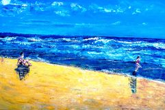 Original oil painting. On canvas for giclee, background or concept beach scene with mother and child Royalty Free Stock Photos