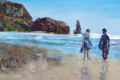 Original oil painting. On canvas for giclee, background or concept . two boys in wetsuits with boogie boards on beach Royalty Free Stock Photos