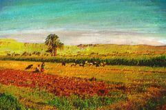 Original oil painting. Of father and son in farm field Stock Image