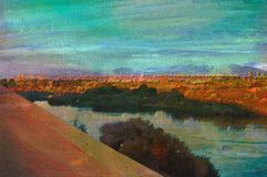Original oil painting of aswan Royalty Free Stock Image