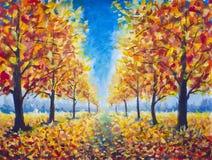 Original Oil Painting Autumn parkway, orange gold yellow dark trees in autumn park, golden autumn walkway, orange autumn nature. R royalty free stock photos