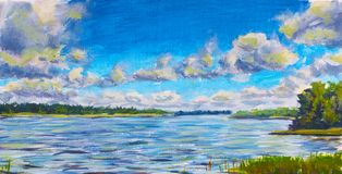 Beautiful purple river, Large clouds against blue sky, green river banks, Russian lake Original Oil Painting on canvas. Colorful Royalty Free Stock Photo