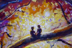 Original Oil Painting on canvas - colorful  painting - Modern impressionism art. Stock Photos