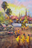 Original oil painting on canvas - culture Thai monk ask for alms Royalty Free Stock Photos