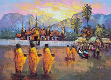 Original oil painting on canvas - culture Thai monk ask for alms Royalty Free Stock Photo