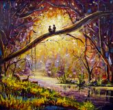 Original Oil Painting on canvas - guy and girl are sitting on branch in forest - Modern impressionism art. royalty free illustration