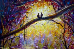 Original Oil Painting on canvas - guy and girl are sitting on branch in forest - Modern impressionism art. Stock Images