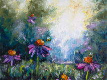 Original oil painting on canvas - Landscape with flowers and bees Royalty Free Stock Image