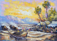 Original oil painting on canvas - Old fishing boat in the harbor vector illustration