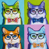 Original oil painting on canvas - Pop Art - Set of Cats in the Glasses Royalty Free Stock Image