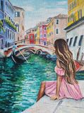 Original oil painting on canvas - Romantic Lady in Venice - Italy.  Stock Images