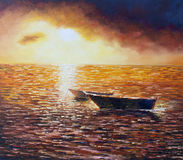 Original oil painting on canvas - Sea Sunset - Modern Art Royalty Free Stock Images