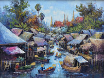 Original oil painting on canvas - waterside life stock photo