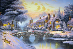 Original oil painting Christmas Royalty Free Stock Photography