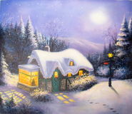 Original oil painting Christmas eve Stock Photo