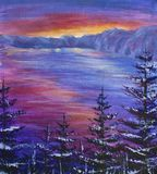 Original oil painting Christmas trees covered in snow on a background of a purple sunrise over ocean. Impressionism. Art. Large trees Christmas trees covered in Royalty Free Stock Photo