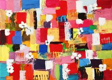 Original Oil Painting. Colourfull original oil painting of abstract shapes and square patterns Stock Photo