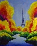Original oil painting of Eiffel tower paris. Dream. Autumn, green, blue. Illustration. Stock Photo