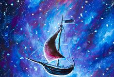 Painting Flying an old pirate ship. Sea ship is flying above starry sky. A fairy tale, a dream. Peter Pan. Illustration. Postcard. Royalty Free Stock Images