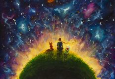 Original oil painting Little prince and fox and Red Rose sitting on grass under starry sky. royalty free illustration
