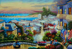 Original oil painting Lombard street Royalty Free Stock Photo
