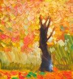 Original oil painting lonely autumn tree, fallen leaves, painting on canvas. Impasto artwork. Impressionism art royalty free illustration