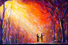 Lovers in woods at night. Romantic rays on lovers. Love. Romance. Secret love - colorful  painting art. Stock Photography