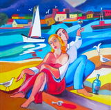 Original oil painting The lovers and wine Royalty Free Stock Image