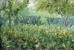 Original oil painting oin canvas art impressionism illustration artwork desing. Green garden in the summer - Painting modern expressionism oil and palette knife stock image