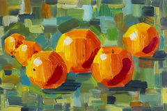 Original oil painting - Oranges on colorful background - Impressionism - Large brush strokes - Modern Art Stock Photos