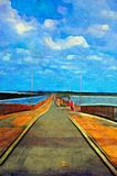 Original oil painting of pier Stock Image