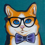 Original oil painting - Pop Art - Red-headed Cat in the Glasses. Royalty Free Stock Photography