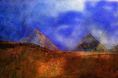 Original oil painting of pyramids  eygpt Royalty Free Stock Photos