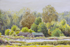 Original Oil Painting Rural landscape on canvas - colorful two houses painting - Modern impressionism art. Stock Photos