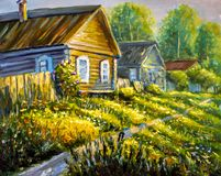 Painting Bright sunny green grass, road through the village. colorful Rural old houses painting illustration - Modern impressionis. Original oil painting Rural royalty free illustration