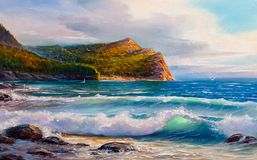 Painting seascape. Sea wave . Royalty Free Stock Images