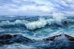 Ocean or sea waves. Original oil painting showing waves in  ocean or sea on canvas. Modern Impressionism, modernism,marinism Stock Images