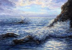 Ocean waves and cliffs. Original oil painting showing waves in  ocean or sea on canvas. Modern Impressionism, modernism,marinism Stock Image