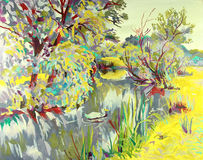 Original oil painting of summer landscape Stock Photo