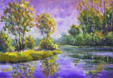 Original oil painting Violet warm sunset dawn over the lake. Rural summer landscape. Trees are reflected in water. Violet warm sunset dawn over the lake. Rural royalty free stock image