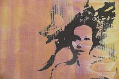 Original oil painting. Of woman on canvas ideal for giclee prints stock illustration