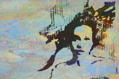 Original oil painting. Of woman on canvas ideal for giclee prints royalty free illustration